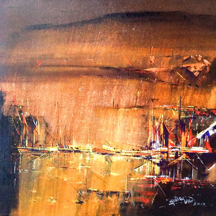 Untitled by Dnyaneshwar Dhavale , Abstract Painting, Acrylic on Canvas, Brown color