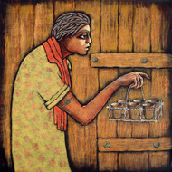 Chotu-1 by Ramchandra Pokale, Expressionism Painting, Acrylic on Canvas, Brown color