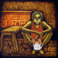 Chotu-2 by Ramchandra Pokale, Expressionism Painting, Acrylic on Canvas, Brown color