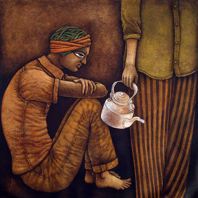 Chotu-3 by Ramchandra Pokale, Expressionism Painting, Acrylic on Canvas, Brown color