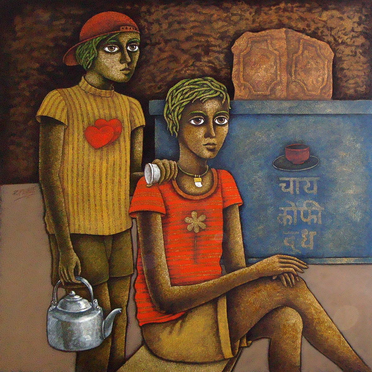 Chotu-4 by Ramchandra Pokale, Expressionism Painting, Acrylic on Canvas, Brown color