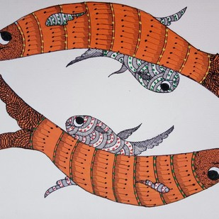 Lets go swimming by Sunil Shyam , Tribal Drawing, Acrylic & Ink on Paper, Gray color