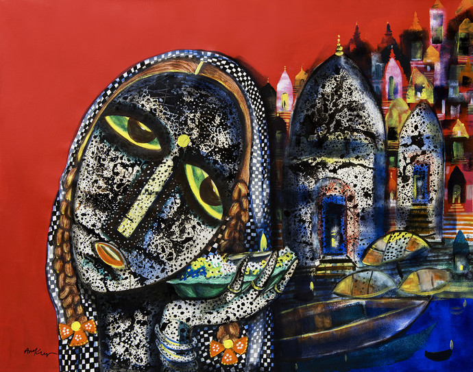 Banaras woman Digital Print by Arun K Mishra,Expressionism