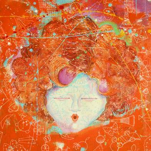 The Innocence I by shiv kumar soni, Expressionism Painting, Mixed Media on Canvas, Orange color