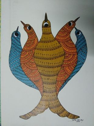Flock Together by Sunil Shyam , Tribal Painting, Acrylic on Paper, Gray color