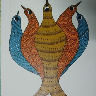 Flock Together by Sunil Shyam , Tribal Drawing, Acrylic on Paper, Gray color