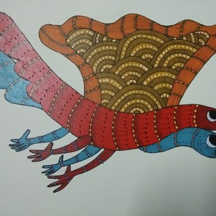 Let's fly in the sky by Sunil Shyam , Tribal Painting, Acrylic on Paper, Gray color