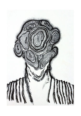 Solace- Union 1 by Tanushree Roy Paul, Illustration Drawing, Ink on Paper, Gray color