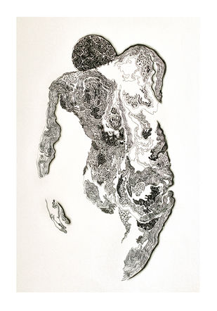 Solace- Union 4 by Tanushree Roy Paul, Illustration Drawing, Ink on Paper, White color