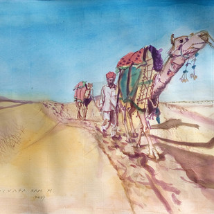 Caravan of camels. by Sreenivasa Ram Makineedi, Impressionism Painting, Watercolor on Paper, Beige color