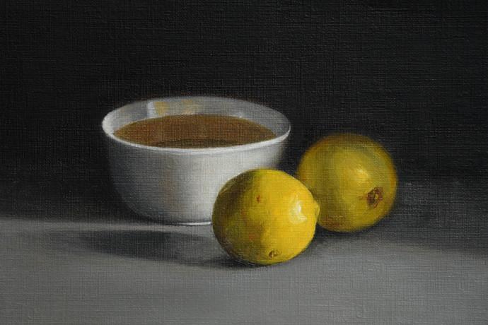 Bowl and Lemons by Kiran Kumari B, Realism Painting, Oil on Paper, Gray color