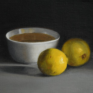 Bowl and Lemons by Kiran Kumari B, Realism Painting, Oil on Paper, Gray color