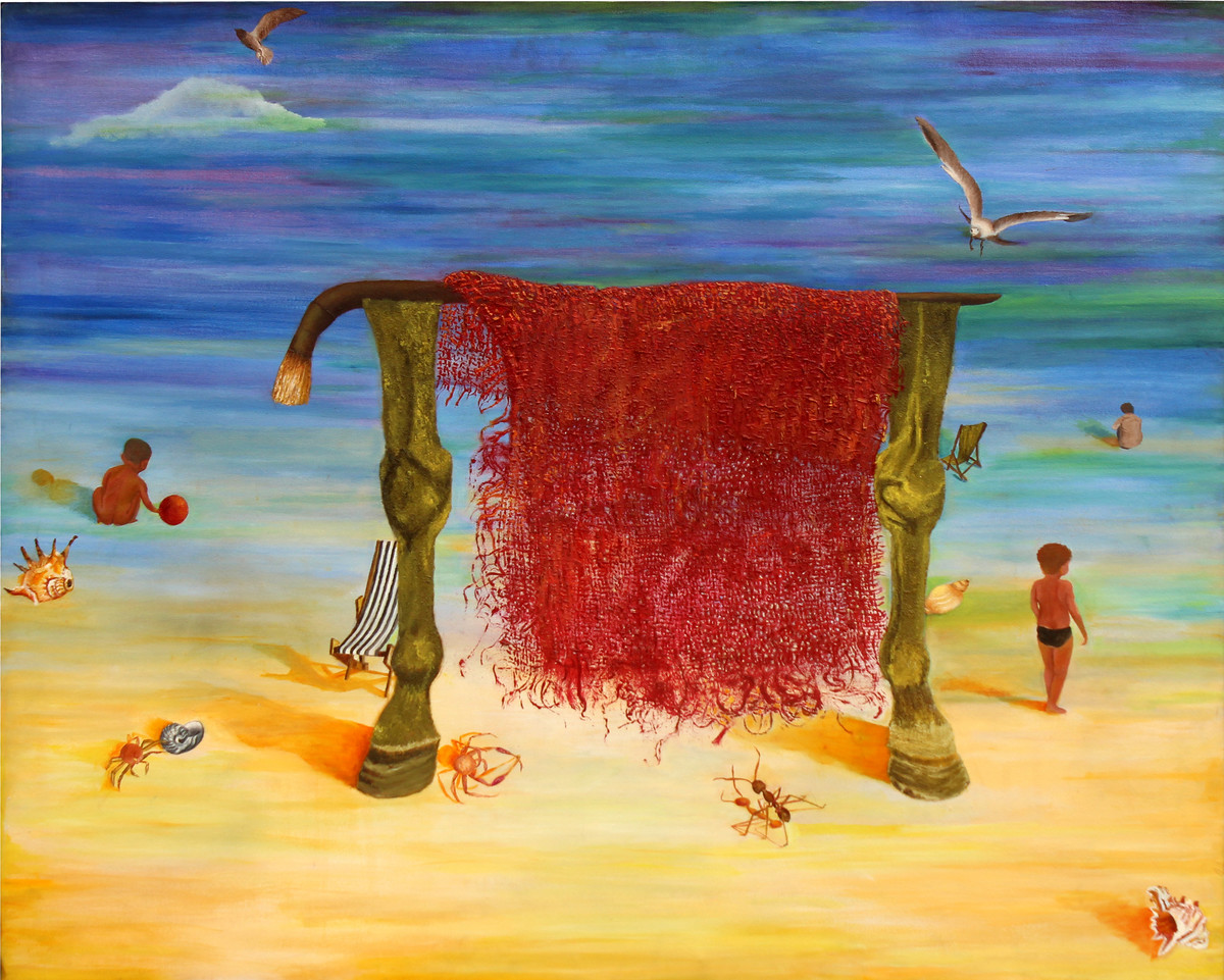 sea shore by Geetha Ramasesh, Expressionism Painting, Oil on Canvas, Blue color