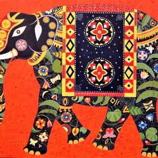 Royal Elephant 3 by Bhaskar Lahiri, Decorative Painting, Acrylic on Canvas, Brown color