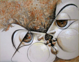 8 Connections by Saumya Bandyopadhyay, Traditional Drawing, Dry Pastel on Paper, Brown color
