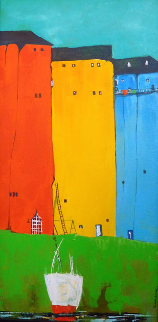 Croucher City Landscape_03 by Ganesh Badiger, Geometrical Painting, Acrylic on Canvas, Orange color