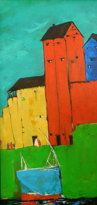 Croucher City Landscape_04 by Ganesh Badiger, Geometrical Painting, Acrylic on Canvas, Green color