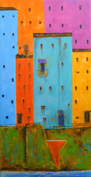 Venice City Landscape_05 by Ganesh Badiger, Geometrical Painting, Acrylic on Canvas, Green color