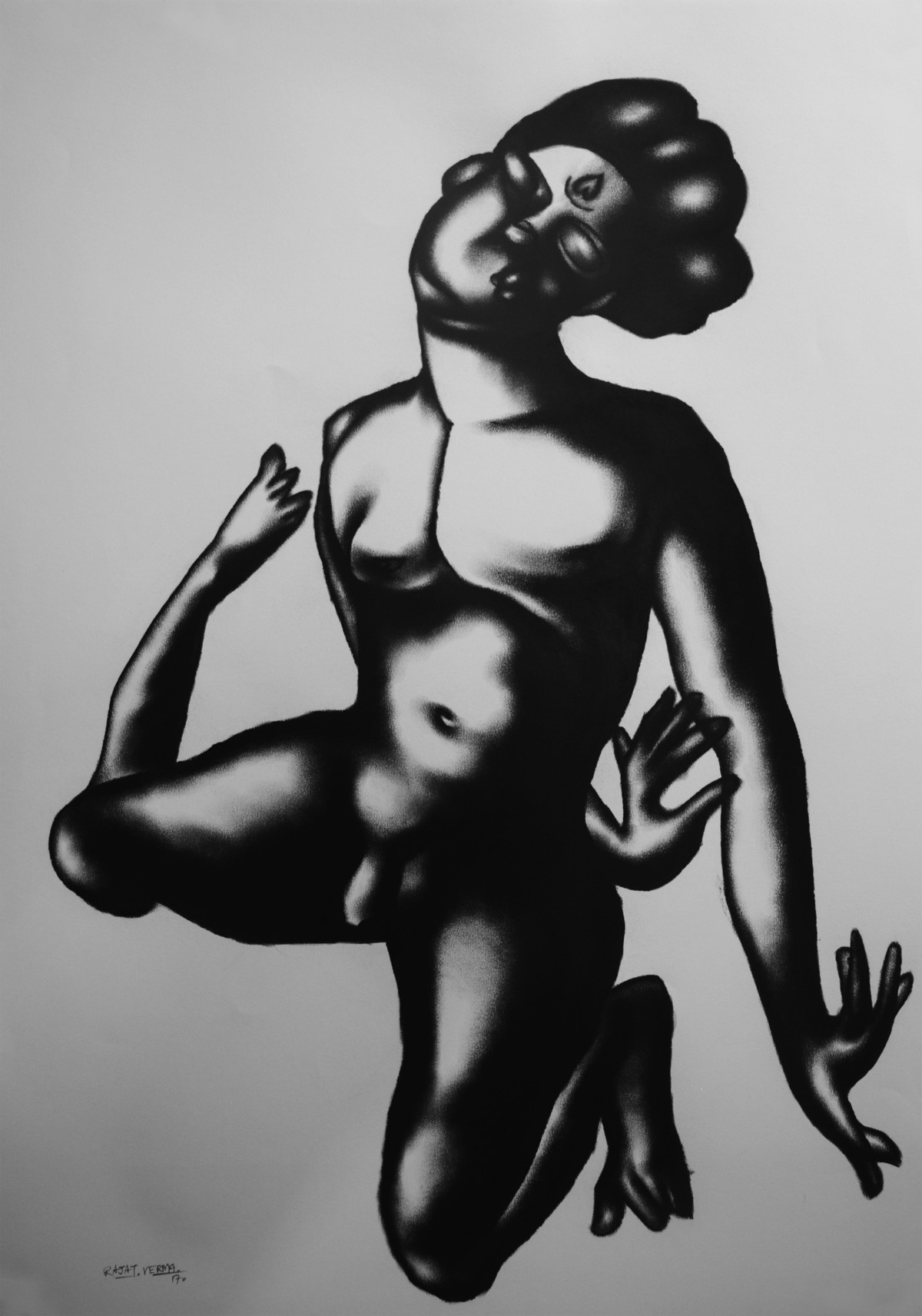 In love 3 by Rajat Verma, Illustration Painting, Charcoal on Paper, Gray color