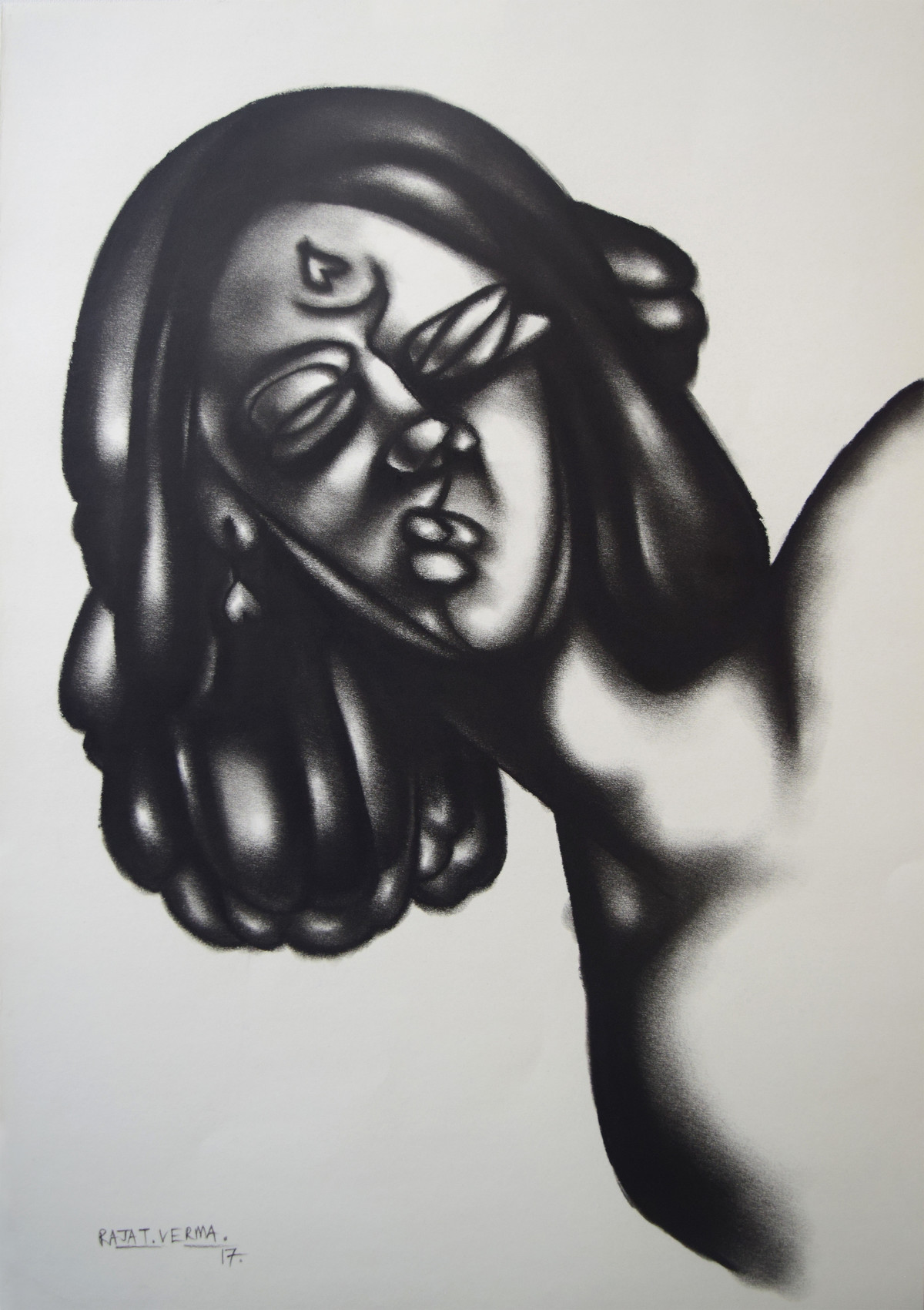 waiting for someone by Rajat Verma, Illustration Painting, Charcoal on Paper, Gray color