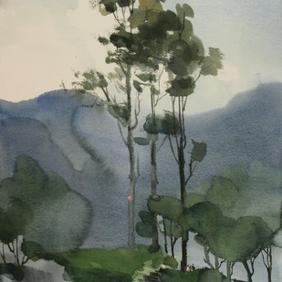 Far and beyond the reality by Prashant Prabhu, Impressionism Painting, Watercolor on Paper, Green color