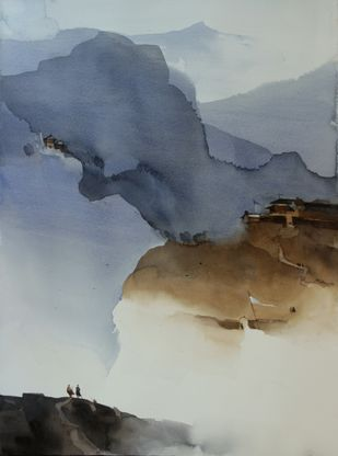 Two ways to rise up by Prashant Prabhu, Impressionism Painting, Watercolor on Paper, Gray color