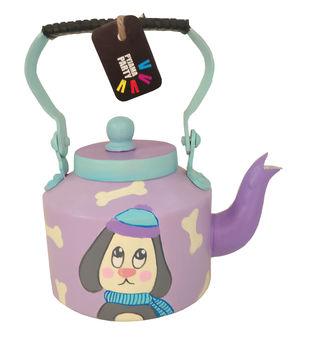 Tiny teapot hand-painted-Snowball the doggie Serveware By Pyjama Party Studio