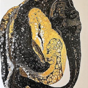 Elephant and Snake by Kartikey Sharma, Abstract Painting, Acrylic on Canvas, Gray color