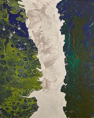 Green Sea 2 by Kartikey Sharma, Abstract Painting, Acrylic on Canvas, Green color