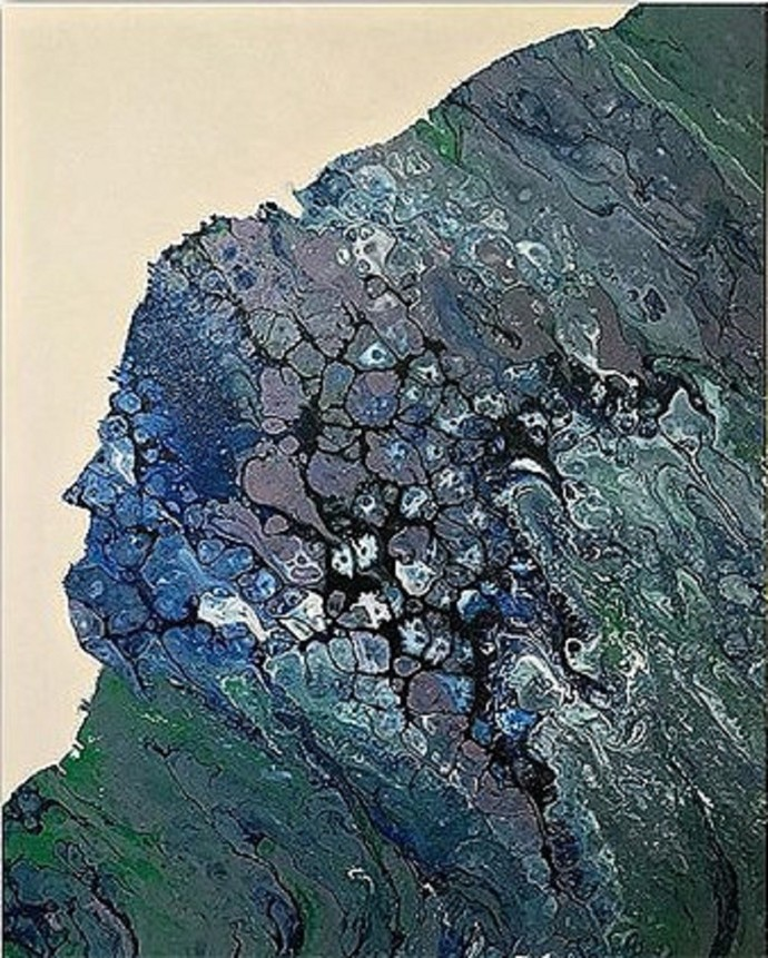 Shore 2 by Kartikey Sharma, Abstract Painting, Acrylic on Canvas, Green color