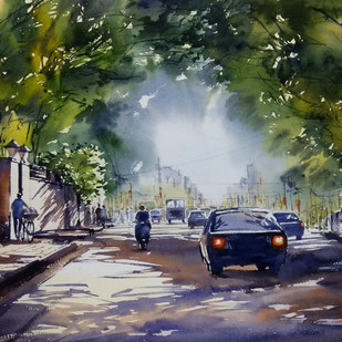 Untitled by Sunil Linus De, Impressionism Painting, Watercolor on Paper, Green color