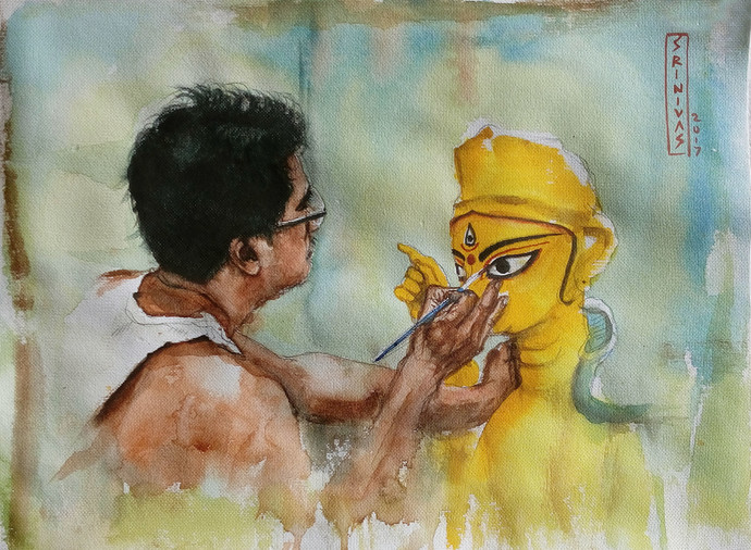 Making of God by Sreenivasa Ram Makineedi, Impressionism Painting, Watercolor on Paper, Beige color