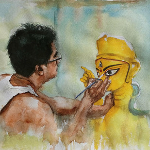 Making of God by Sreenivasa Ram Makineedi, Impressionism Painting, Watercolor on Paper, Beige color