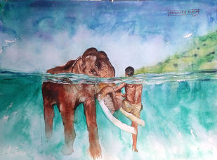 Elephant with Mahout. by Sreenivasa Ram Makineedi, Impressionism Painting, Watercolor & Ink on Paper, Cyan color