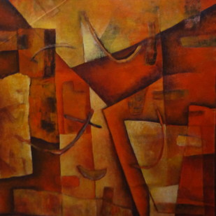 Untitled by Pradip Chaudhuri, Abstract Painting, Acrylic on Canvas, Brown color