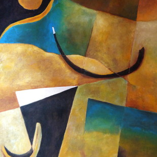 Untitled by Pradip Chaudhuri, Abstract Painting, Acrylic on Paper, Brown color