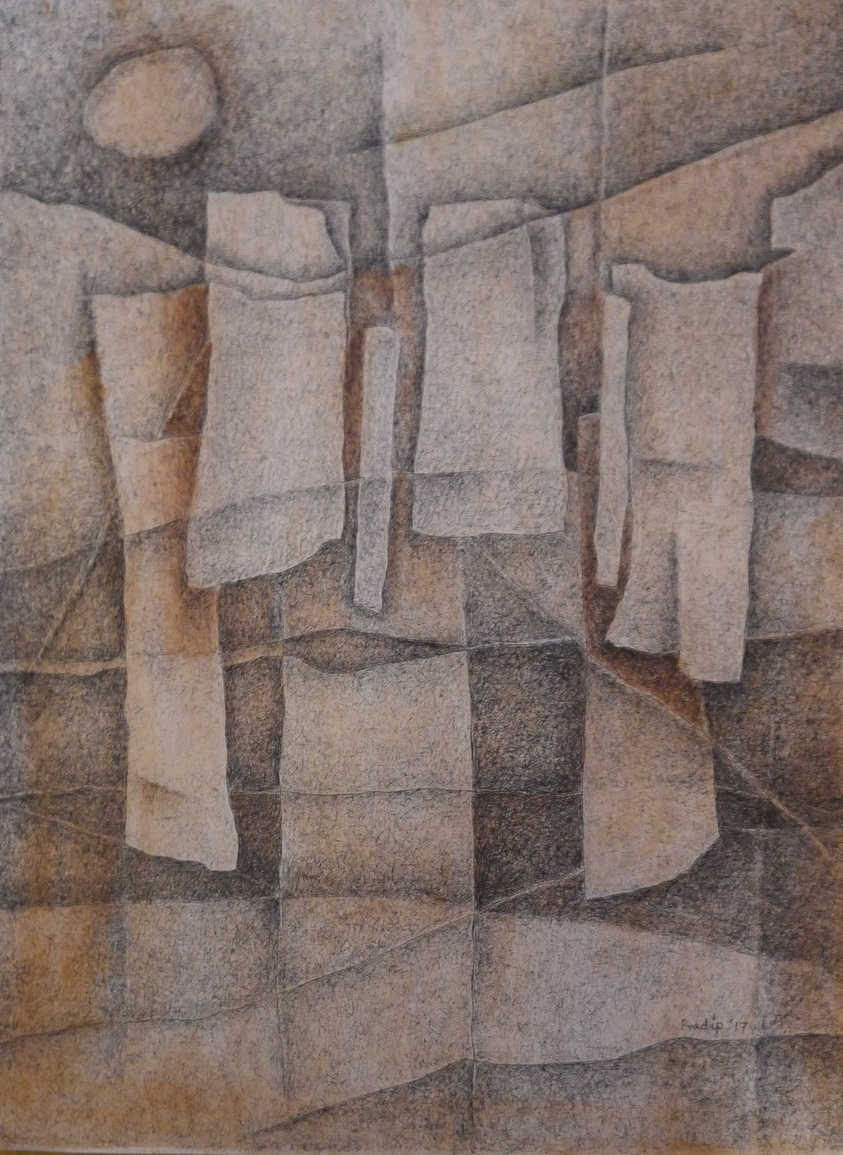 Untitled by Pradip Chaudhuri, Abstract Drawing, Acrylic & Ink on Paper, Brown color