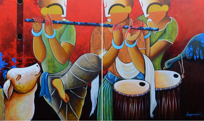rhythmic conversation by anupam pal, Decorative Painting, Acrylic on Canvas, Brown color