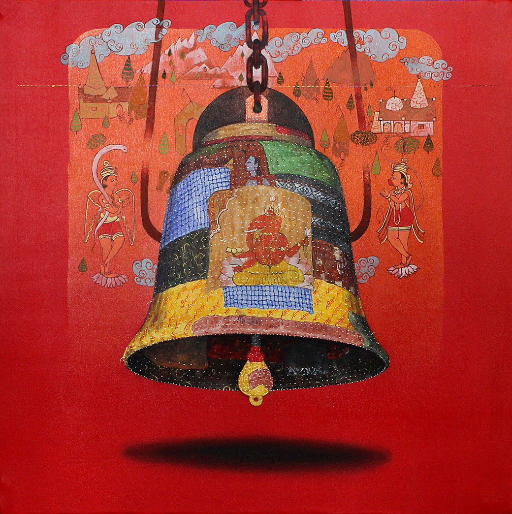 beautiful memory1 by Ramchandra Kharatmal, Expressionism Painting, Oil & Acrylic on Canvas, Red color