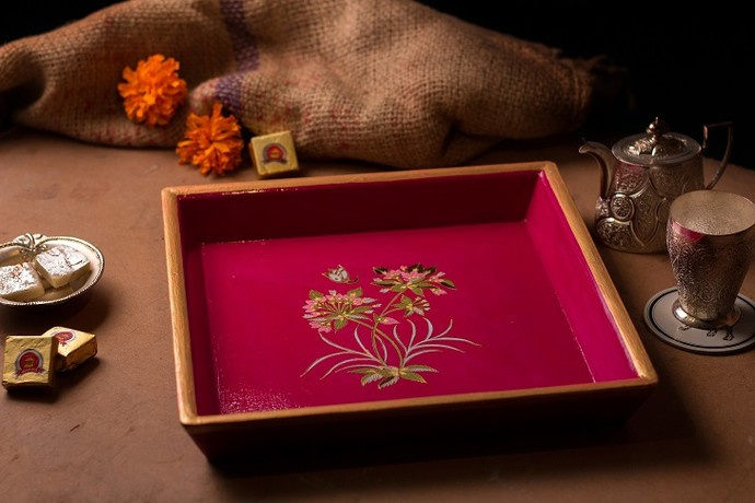 Almond blossom Tray Tray By Eclectic Elan
