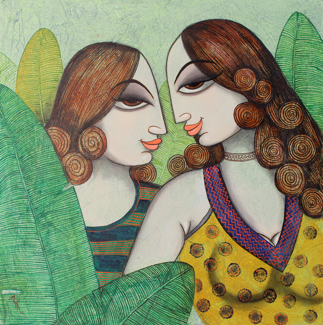 friend by Varsha Kharatmal, Decorative Painting, Acrylic on Canvas, Green color