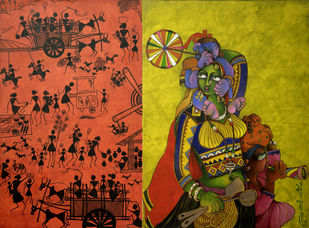 Returning from a village fair by Sunita Dinda, Traditional Painting, Acrylic on Canvas, Brown color