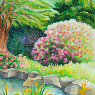An idyllic spot by Shalini Sinha, Impressionism Painting, Pastel on Paper, Green color