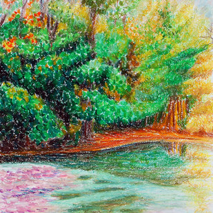 Trees by the lake by Shalini Sinha, Impressionism Painting, Oil Pastel on Paper, Green color