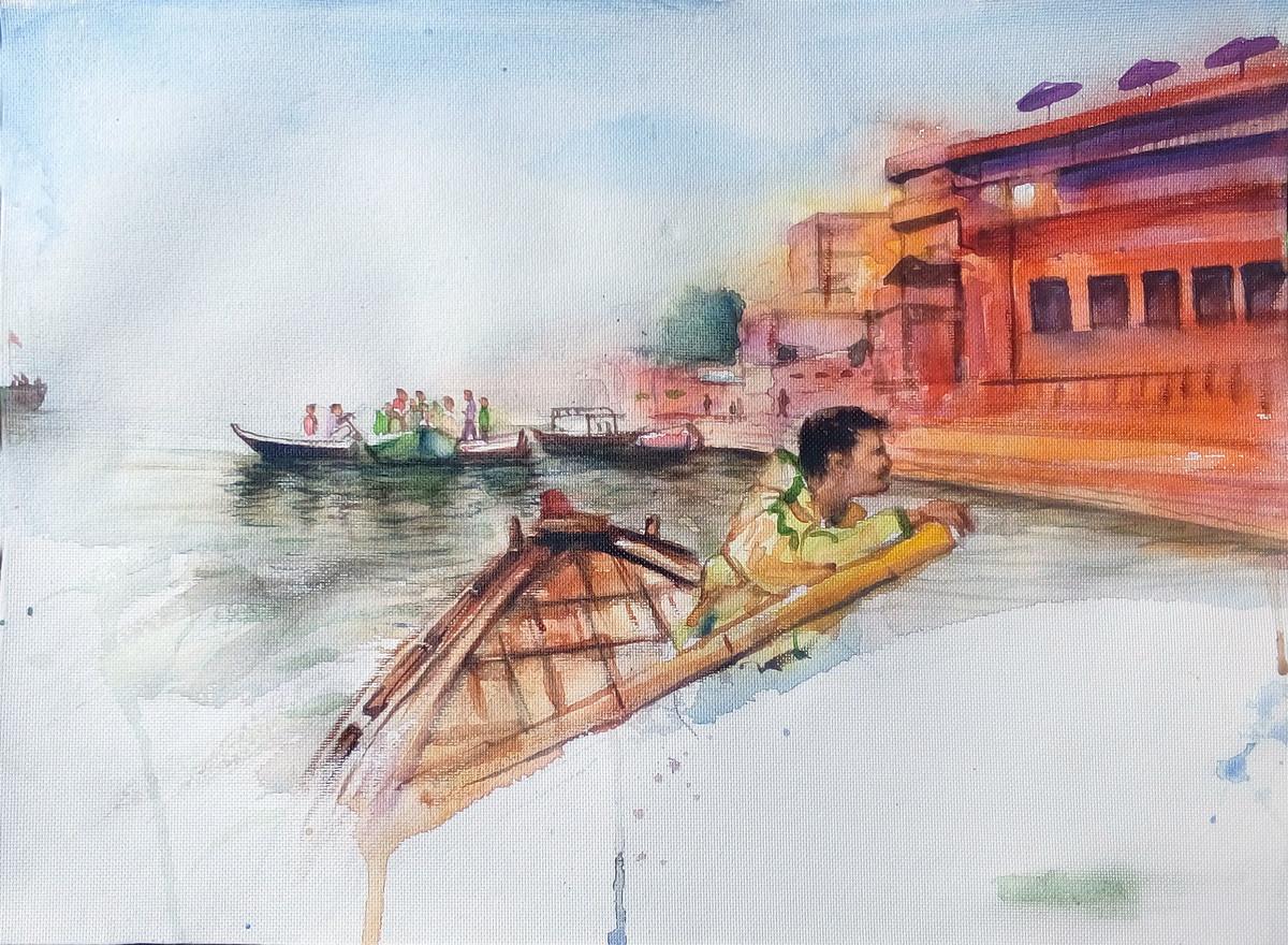 Varanasi by Sreenivasa Ram Makineedi, Impressionism Painting, Watercolor on Paper, Gray color