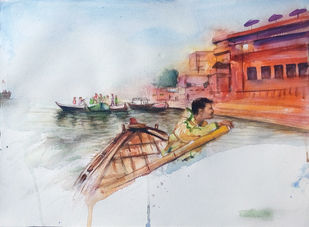 Varanasi by Sreenivasa Ram Makineedi, Impressionism Painting, Watercolor on Paper, Gray color