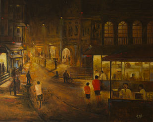 Stall - 21 by Atul Virkar, Impressionism Painting, Acrylic on Canvas, Brown color
