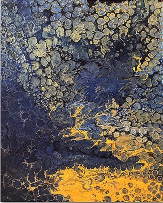 Under the golden sea by Kartikey Sharma, Abstract Painting, Acrylic on Canvas, Brown color