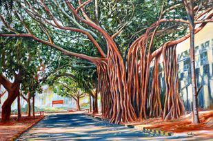 Morning Shadows by Usha Shantharam, Impressionism Painting, Oil on Canvas, Brown color