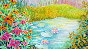 Flowers by a pond Digital Print by Shalini Sinha,Impressionism